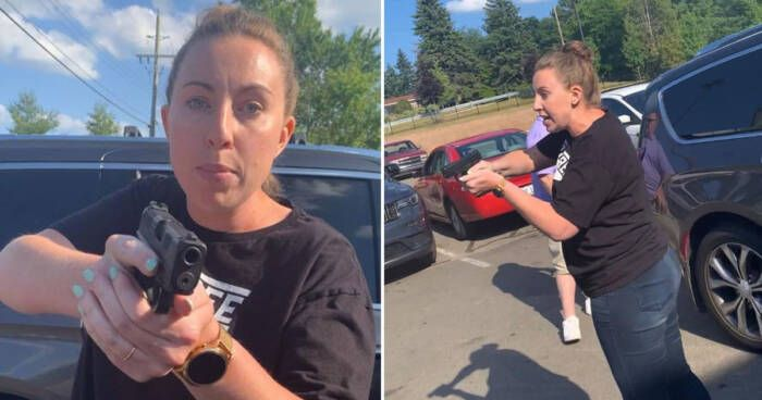 WHITEWOMANPULLSGUN White lady pulls weapon on Black mother and high schooler